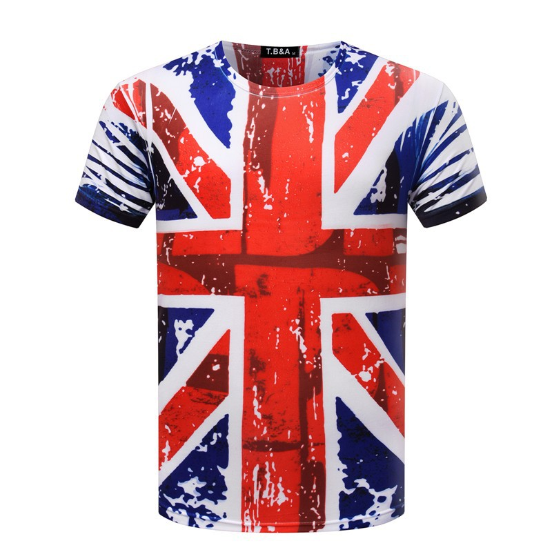 New fashion women men hip hop Englian Flag print t shirt mens 3d compression t-shirt homme brand clothing for men(China (Mainland))