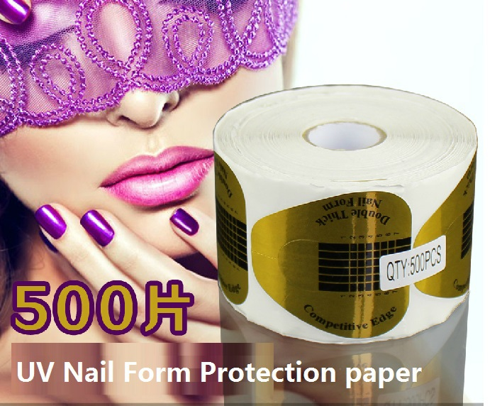 MC new 500 PCS/Roll Gold Nail Form stickers Art Tip Extension Forms for Acrylic UV Gel Accessories Top Quality Retail/ wholesale(China (Mainland))