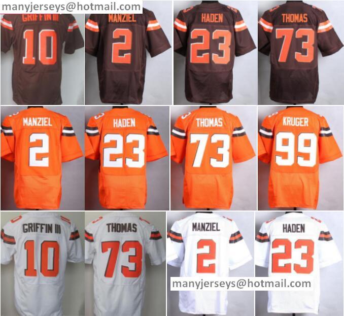 Best Sale 10 Robert Griffin III 2 Johnny Manziel 23 Joe Haden 73 Joe Thomas 99 Paul Kruger Orange White Stitched Quality(China (Mainland))