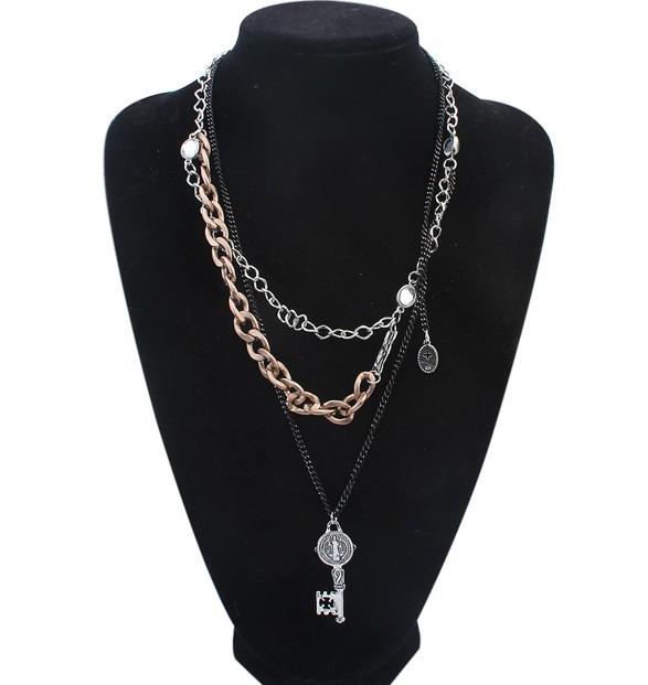 Brand Fashion Bohemia Women Collar Vintage Charms Multilayer Chains Punk Key Necklaces&Pendants Fine Jewelry A016 - Lemon Value Sale store