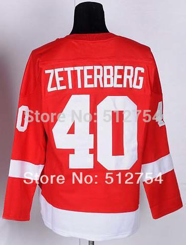 Cheap #40 Henrik Zetterberg jersey Red mens Ice Hockey Embroidery logos Vintage Fast Shipping China Authentic Aimee Smith Store(China (Mainland))