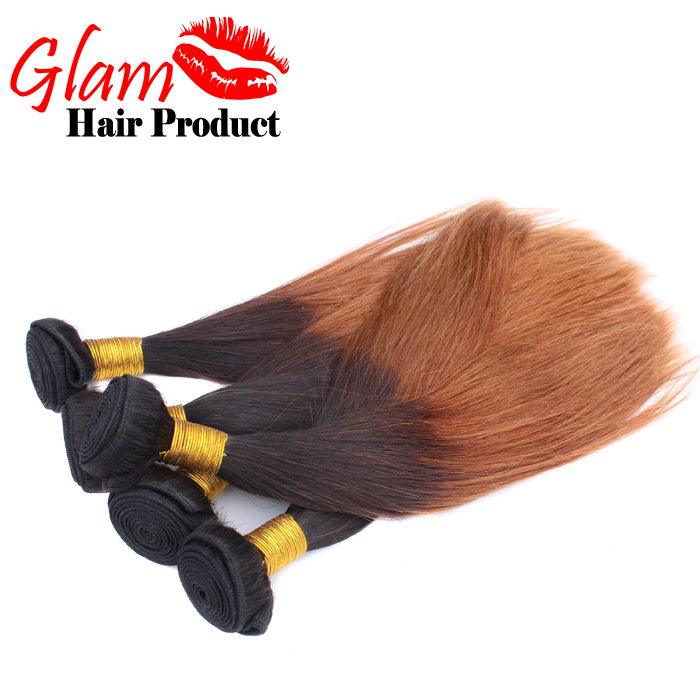 Brazilian Virgin Hair Straight Ombre Hair Extensions 5PCS Two Tone Human Hair Weave Ombre Brazilian Hair Straight Ombre Bundles