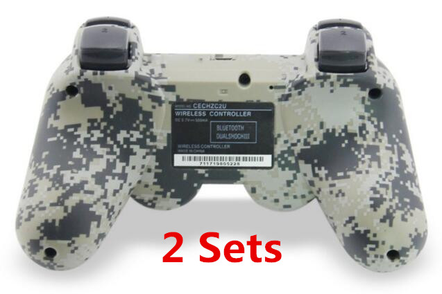 2 set Camouflage Dual Vibration Shock 6 Axis SIXAXIS Bluetooth Wireless Controller for SONY PS3 Dualshock 3 controllers Gamepads(China (Mainland))