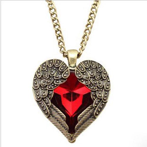 1 PCS Women Ladies Hot Fashion Retro Vintage Red Rhinestone Heart Angel Wing Pendant Necklace(China (Mainland))