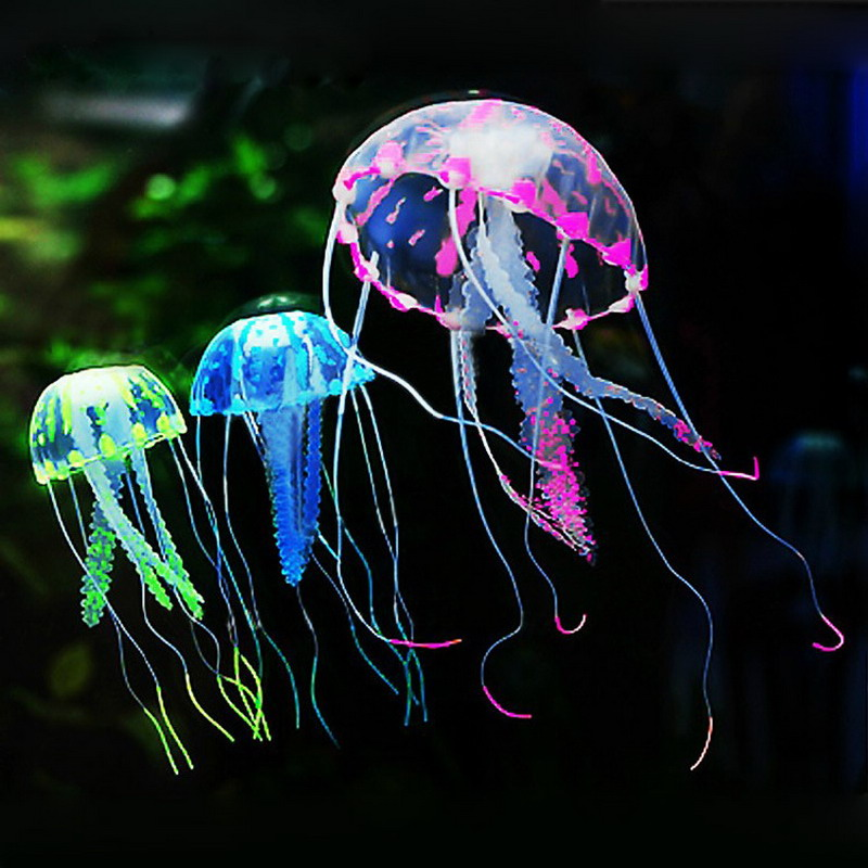 Lovely Silicone Mini Size Glowing Artificial Vivid Jellyfish Silicone Fish Tank Decor Aquarium Decoration Ornament VCQ66 P15 0.5(China (Mainland))
