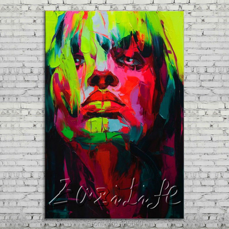 Buy Palette knife portrait Face Oil painting Character figure canvas Hand painted Francoise Nielly wall Art picture 112 cheap