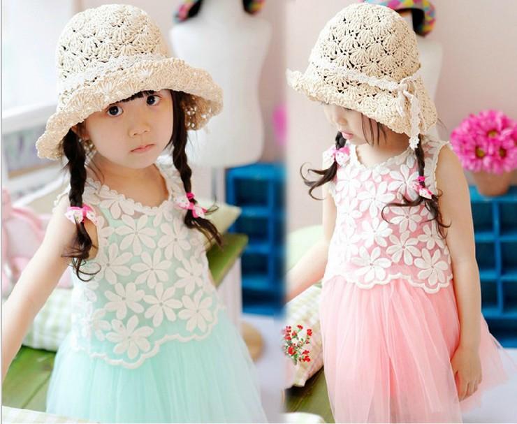 Wholesale - girls hollow flower vest + gauze dress sets kids popular two pieces suits Children fashion clothes 3 colors 5p/l<br><br>Aliexpress