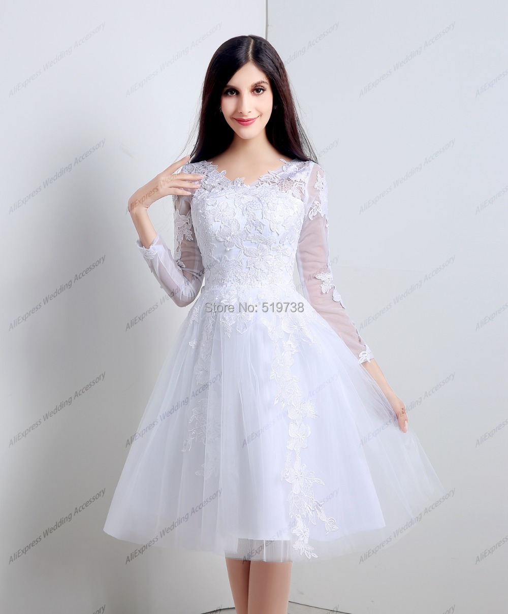 Real picture stock white tulle lace 3 4 long sleeves a for Knee length wedding dresses with sleeves