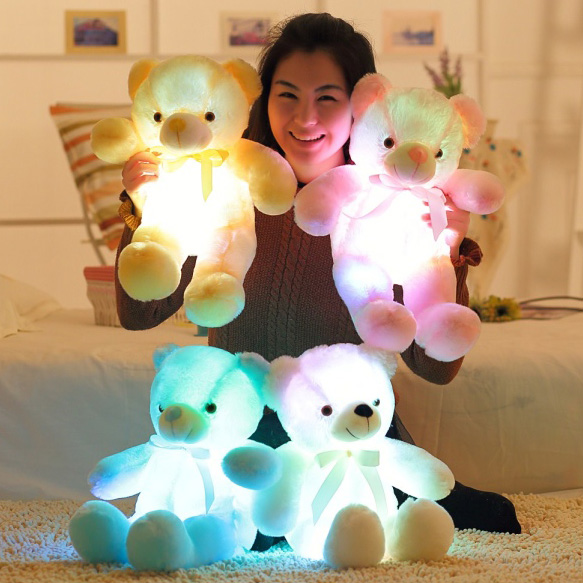 50cm Creative Light Up LED Inductive Teddy Bear Stuffed Animals Plush Toy Colorful Glowing Teddy Bear Christmas Gift for Kids(China (Mainland))