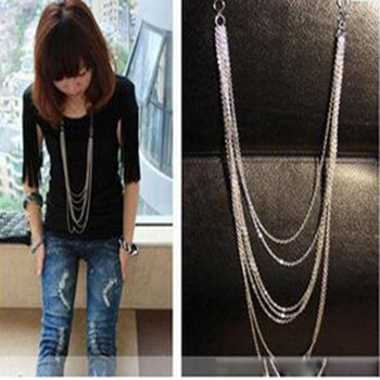 2016 Fashion Long Necklace for Women Vintage Silver Multi layer Chain Tassel Necklace Statement Jewelry Collares
