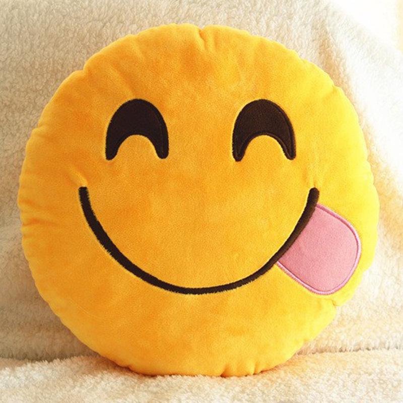 Top quality 20 Style Hot Emoji Smiley Emoticon Round Cushion home Pillow Stuffed Plush Soft Toy almofadas Free shipping 275(China (Mainland))