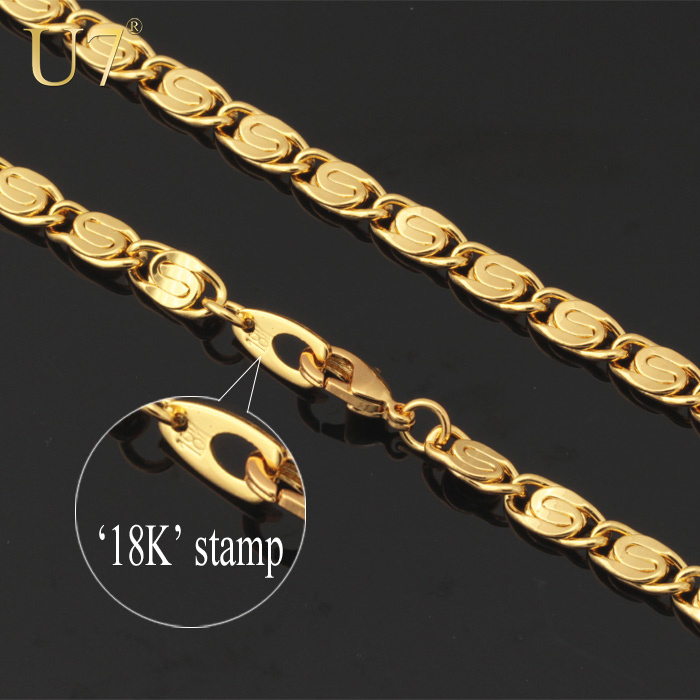 Unique Necklace Stamp 18K Real Gold Plated Men Jewelry Gift Wholesale Free Shipping Trendy 55 CM 6 MM Wide Chain Necklace N334(China (Mainland))