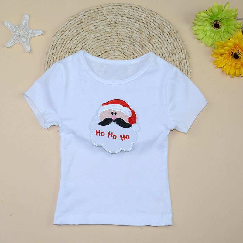 Baby Top 2015 Summer Cotton Short Sleeve Santa Claus Print Tshirt For 0-2Years Christmas Gift Infant Clothing(China (Mainland))