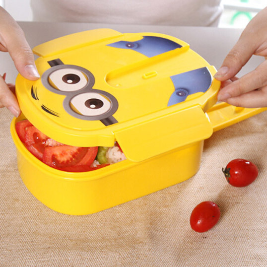 new yellow plastic lunch box cute cartoon bento box lunchbox for kids keeping warm boxes. Black Bedroom Furniture Sets. Home Design Ideas