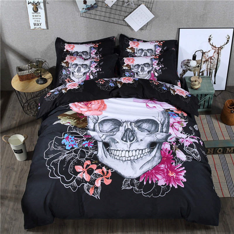 3D Skull Bedding Set Black and White Duvet Cover Queen Size 3/4pcs Big Skull Bed Sheet Cotton Blend Soft Material Bed Cover(China (Mainland))