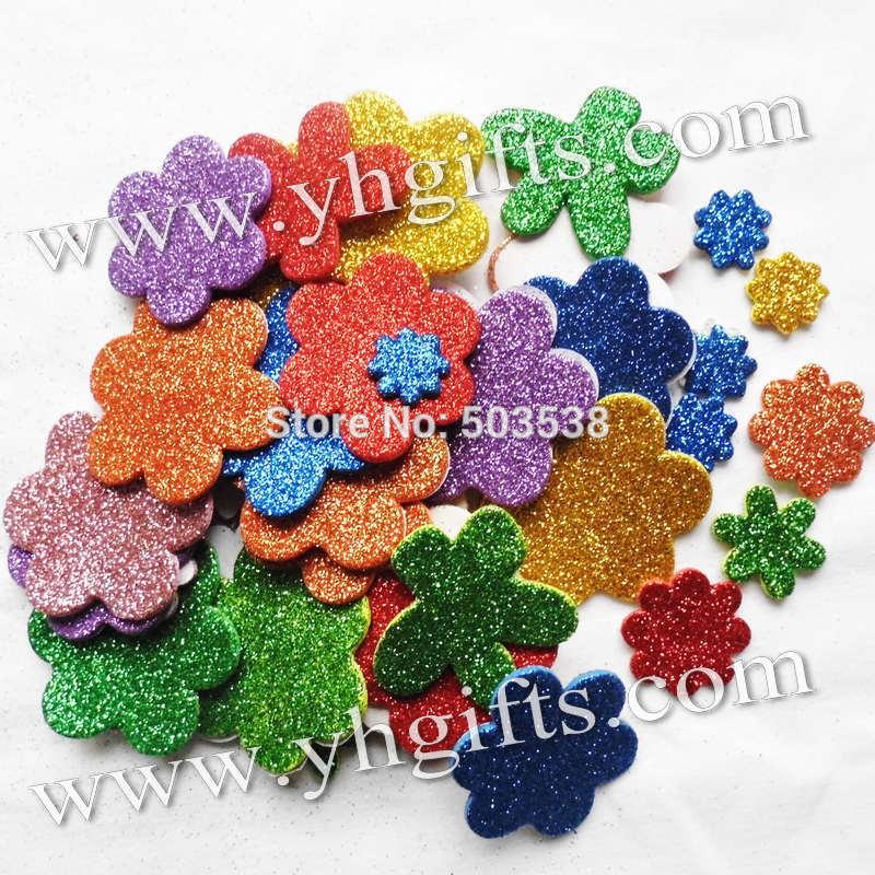 45PCS(1bag)/LOT,Glitter foam flower stickers,Kids toy.Scrapbooking kit.Early educational DIY.Cheap.kindergarten craft(China (Mainland))