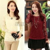 New 2014 Lace Blouses Shirt Women Long Sleeve Ladies Lace Blusas Women Tops Floral Sexy Blouse Plus Size 22