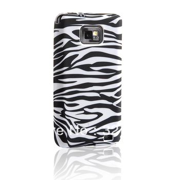 Free Shipping silicon TPU Case Cover Skin for Samsung Galaxy S2 i9100 Etui Gel pink with white black Zebra