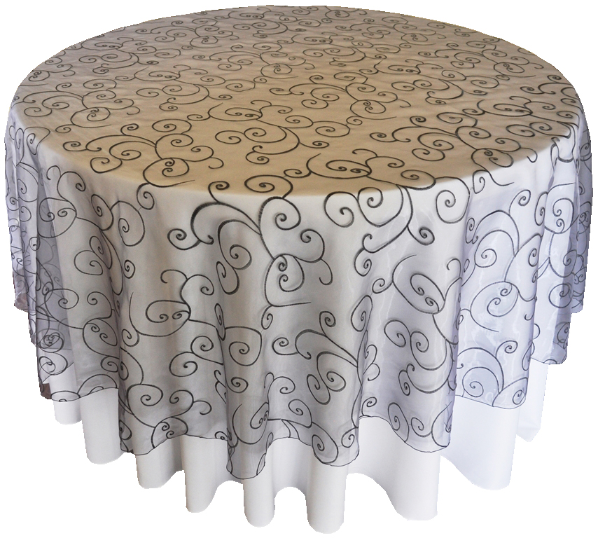 Embroidered Table Cloth Round Tablecloths Organza