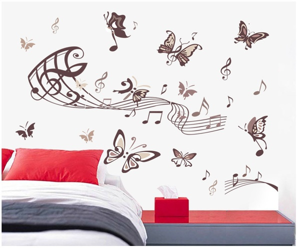 Butterflies Living Room Bedroom Bedside Notes Music Room Children's Room Decorative Wall Stickers(China (Mainland))