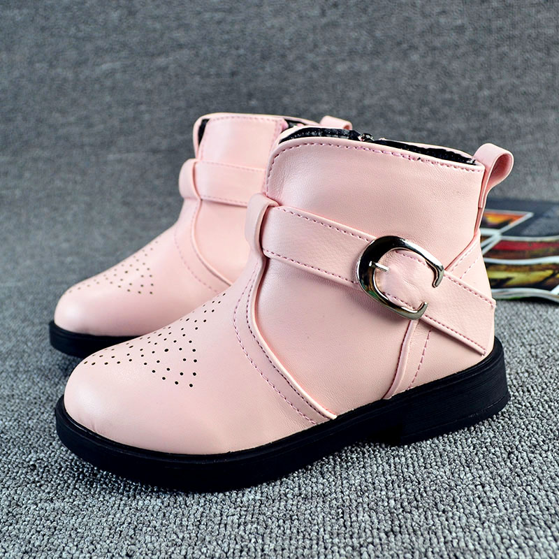 New Spring Children Shoes PU Leather breathable Martin Boots girls Rubber zip Snow Boots kids fashion shoes(China (Mainland))