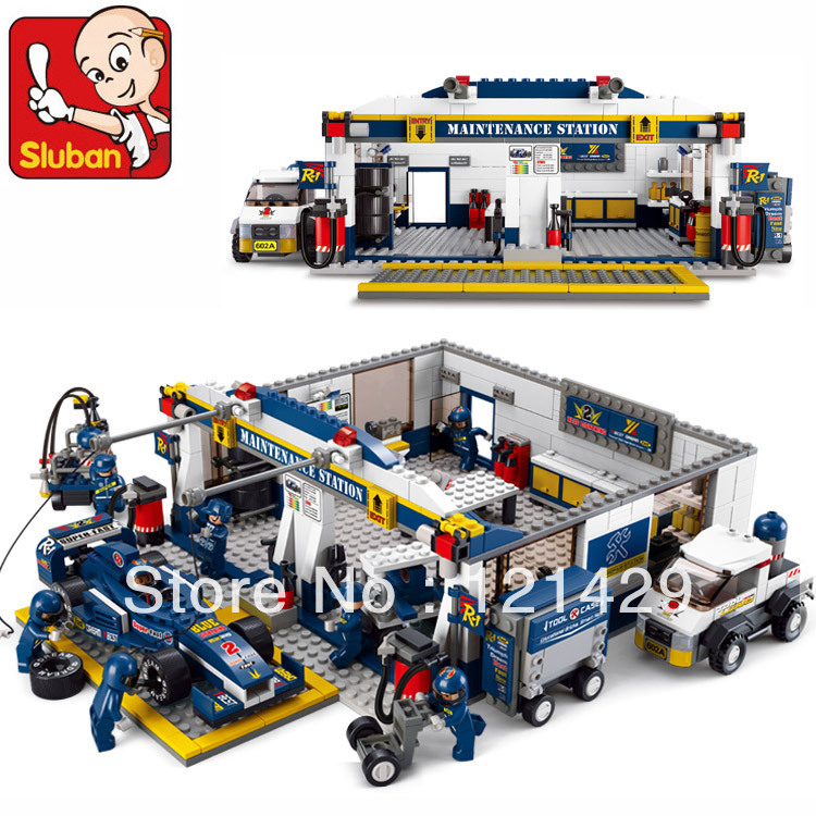 Without box F1 track Maintenance station Sluban M38-B0356 741pcs building blocks DIY educational toy birthday gift Free Shipping<br><br>Aliexpress