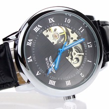 Winner Luxury Carving Skeleton Steampunk Hand Wind Mechanical Silver Genuine Leather Clasp Unisex Lover's Montre Homme Watches