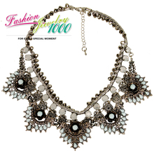 New Arrival Vintage Retro Light Blue Stone Cord Choker Collar Necklace Fashion Jewelry For Women Free Shipping(China (Mainland))