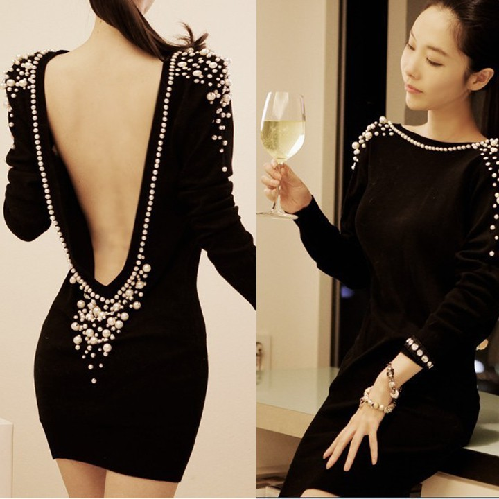 Women Sexy Long Sleeve Embellished Plastic Pearls Beaded Backless V-Back Top Mini Elegant Evening party dresses 18(China (Mainland))