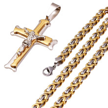 361L Christian Love Jesus Cross Necklace Men Crystal Stainless Steel Pendant Necklaces Thick Link Byzantine Chain Men Jewelry(China)