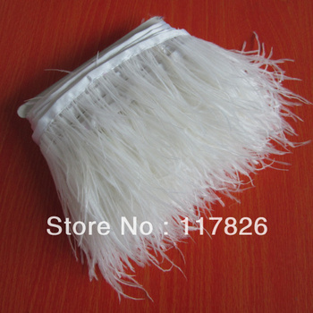 Free Shipping 1Yard Beautiful White Ostrich Feather Ribbon 3-4inches/8-11cm Trims for Dress/Craft Supplies JY8