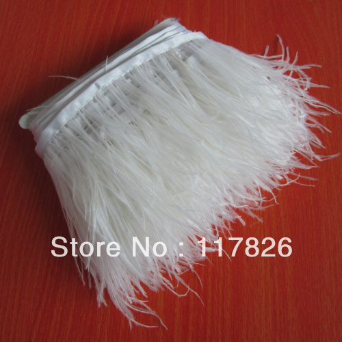 Free Shipping 1Yard Beautiful White Ostrich Feather Ribbon 3-4inches/8-11cm Trims for Dress/Craft Supplies JY8(China (Mainland))