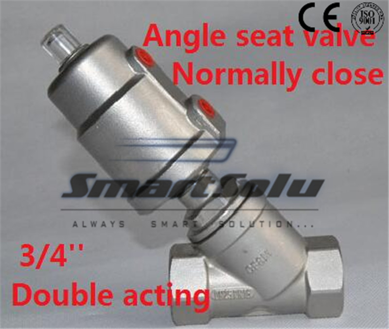 Free shipping angle seat valve stainless steel actuator DN20 3/4 inch normally close double acting for high temperature steam(China (Mainland))