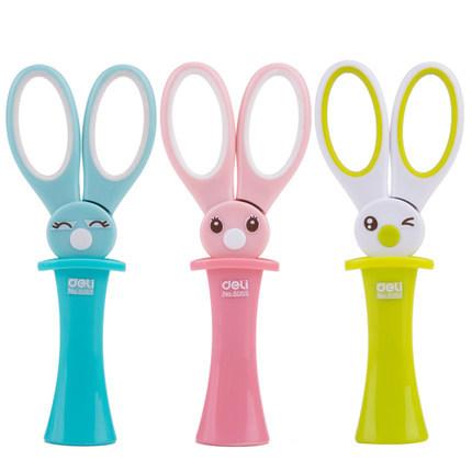 Гаджет  1pc scissors for kids DIY cartoon magic rabbit student safety scissors with cap 3 colors 136mm Deli 6065 None Офисные и Школьные принадлежности