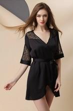 Free shipping  Women Sexy Satin Lace Lingerie Nightdress Robe Sleepwear Nightwear Fit S M