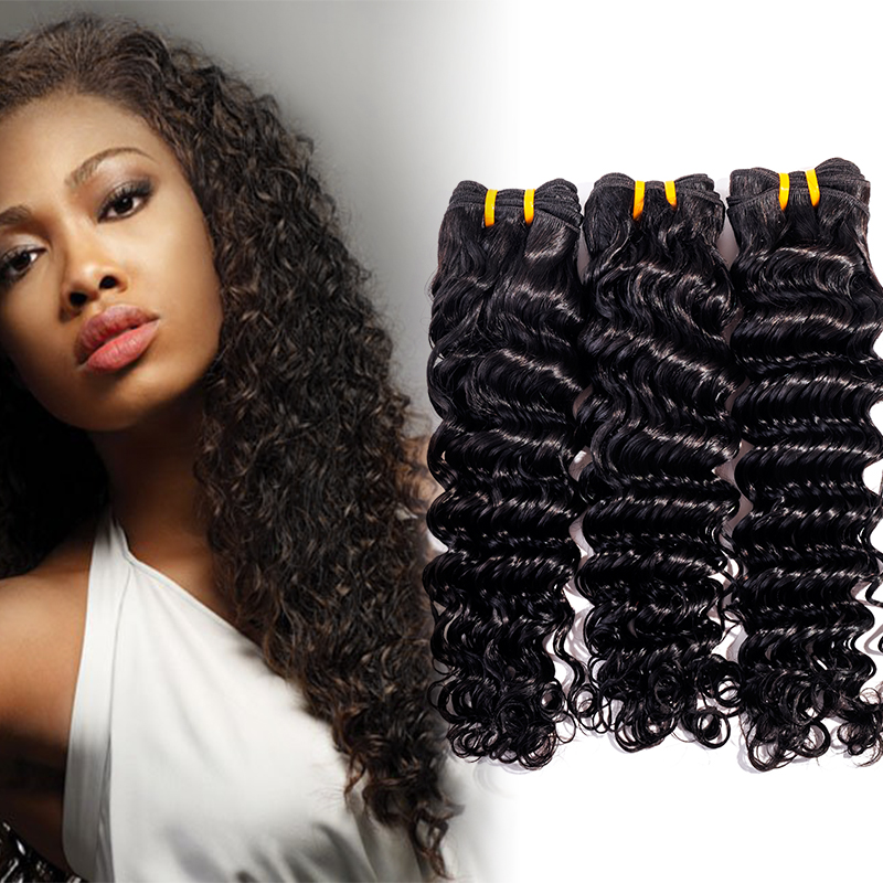 EVET Brazilian Deep Wave Hair Extensions 3pcs Brazilian Deep Wave Virgin Hair Wefts #1B Black Human Hair Deep Wave Hair 100g/pcs