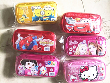 2016 New cartoon anime Minion Elsa Anna Hello Kitty Mickey Spiderman design school pencil bags pen case for boys girls student(China (Mainland))