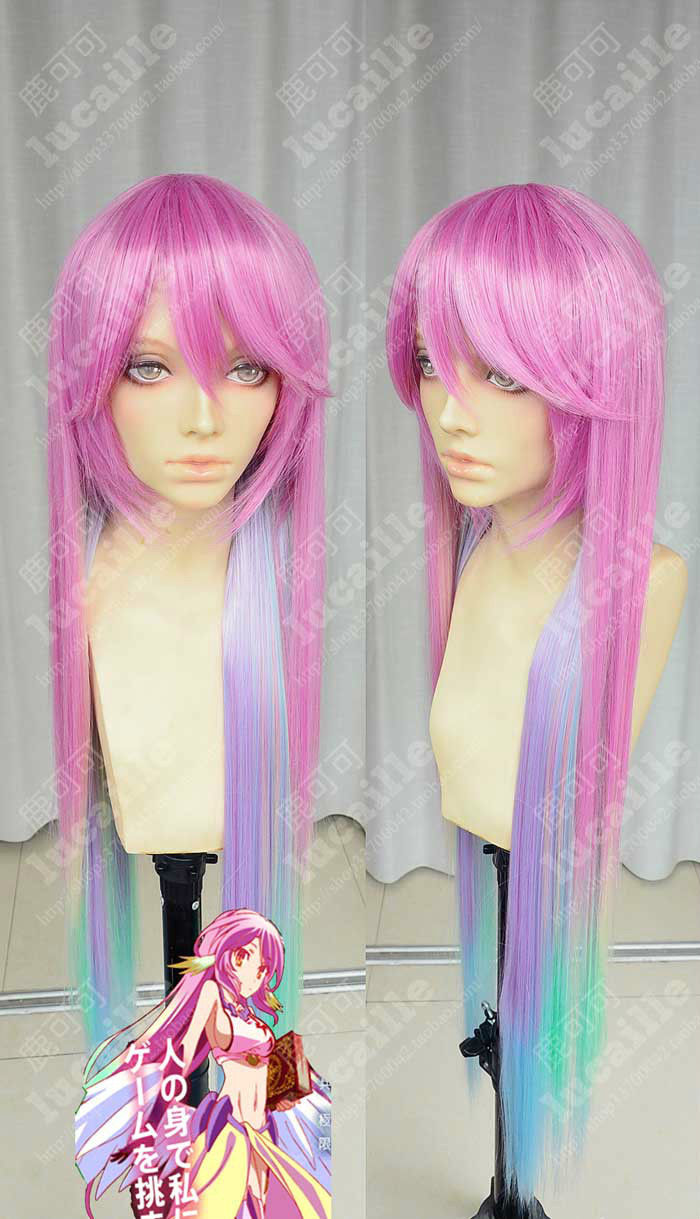 HOT sell Free Shipping >>>NO GAME NO LIFE Multicolor Gradient Cosplay Wigs