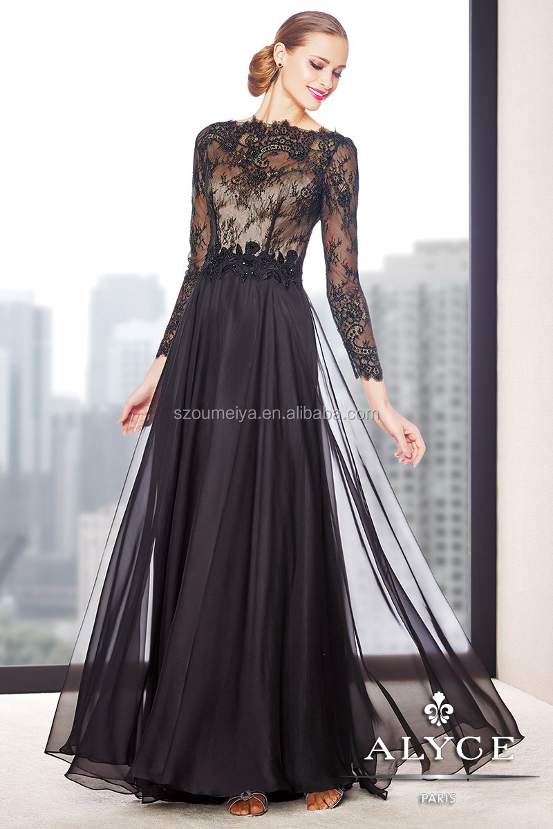 Oumeiya oem273 flowy chiffon black and nude lace long for Flowy wedding dress with sleeves