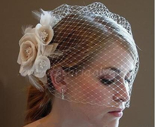 2015 Floral New Real Very Beautiful Wedding Veil Headwear Bridal Accessory Blusher Champagne Hairbands Handmade Flowers Jewelry