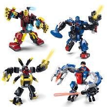 JX60002 4Pcs Avengers 2 Super Hero Captain America Iron Man Armor Minifigure Building Blocks Action Figures Set Christmas Gift