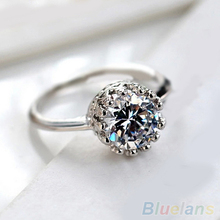 Women Bridal Wedding Engagement Gothic Crown Zircon Gem Alloy Ring Jewelry