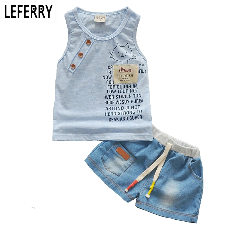 Kids Clothes Baby Boy Summer Clothes Set Tank Top + Jeans Shorts Childrens Toddler Boy Clothing Set Baby Clothes for Boys(China (Mainland))