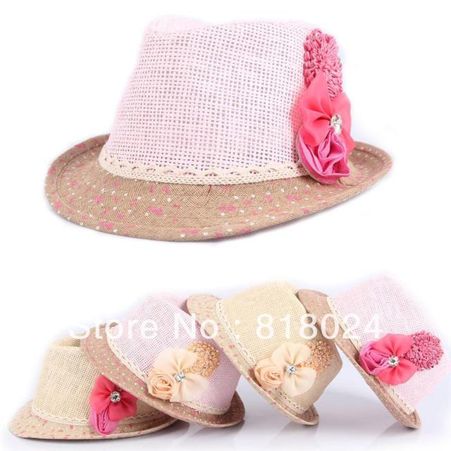 10 шт./лот дети лето мягкая фетровая шляпа, Девочки цветок каменный джаз кепка шляпа, Дети в соломенной шляпе ковбой стро кепка головные уборы аксессуары
