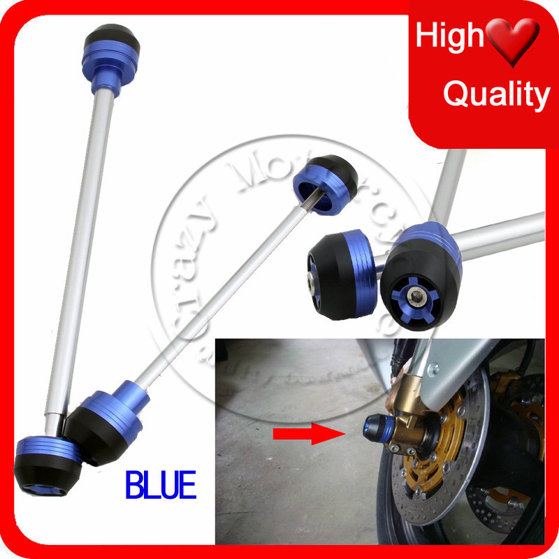 Fit For BMW F800R 2008 2009 2010 2011 2012 Front Rear Axle Fork Crash Sliders Cap Blue Motorcycle Falling Protection