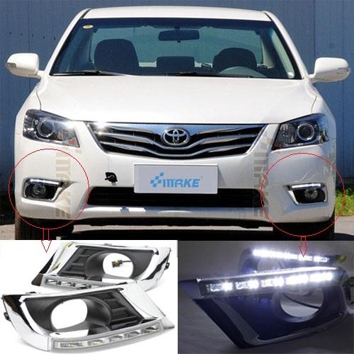 hot sale ! 12V 6000k LED DRL Daytime running light for Toyota Camry 2009-2011 fog lamp frame Fog light<br><br>Aliexpress