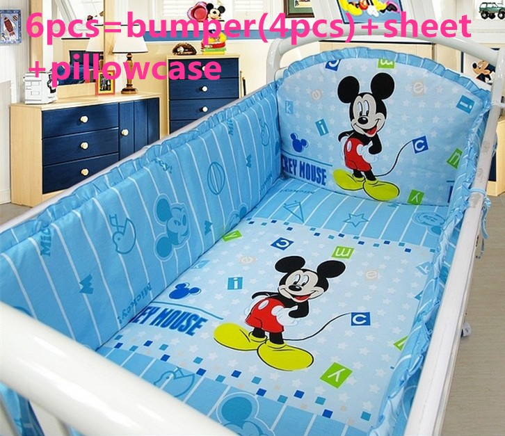 Discount! 6/7pcs Cartoon Baby Crib Bedding Set Baby Boy/Girl Crib Bedding Sets Ropa de Cuna  ,120*60/120*70cm