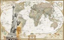 Buy European retro world map 3d wallpaper modern living room murals wallpaper 3d mural Home Decoration for $15.90 in AliExpress store