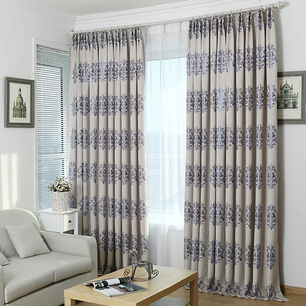 New arrival grey ready made printed window blackout curtains for living room the bedroom - Curtains in bedroom ...
