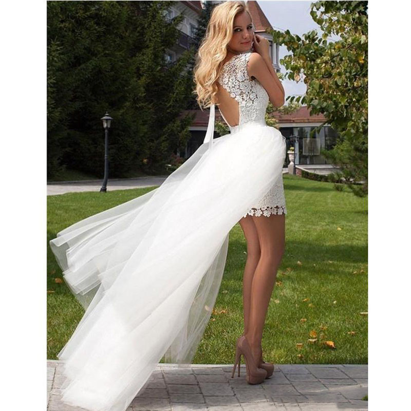 High Low Backless Lace Wedding Dress with Detachable Train 2017 Removable Skirt Short Cap Sleeve Bridal Gowns Custom MadeGarden Sheer